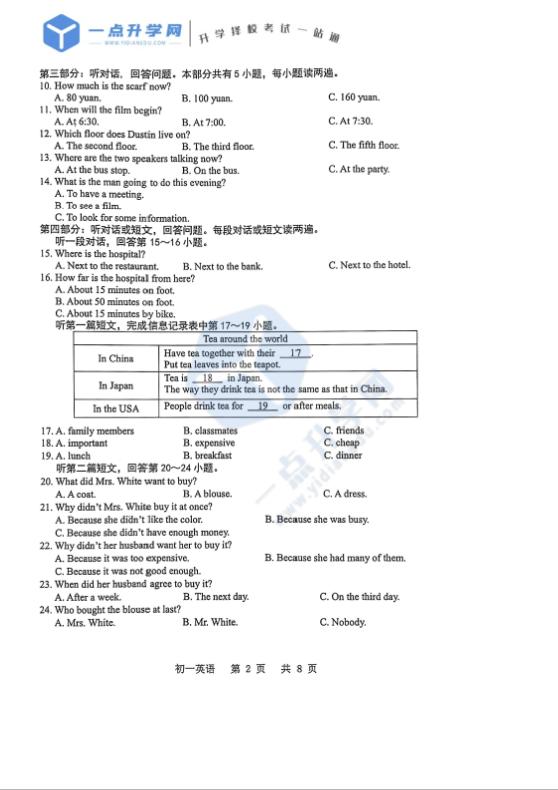 2021昆山、太仓、常熟、张家港2020-2021学年第二学期初一英语期末质量调研测试卷(PDF版无答案)