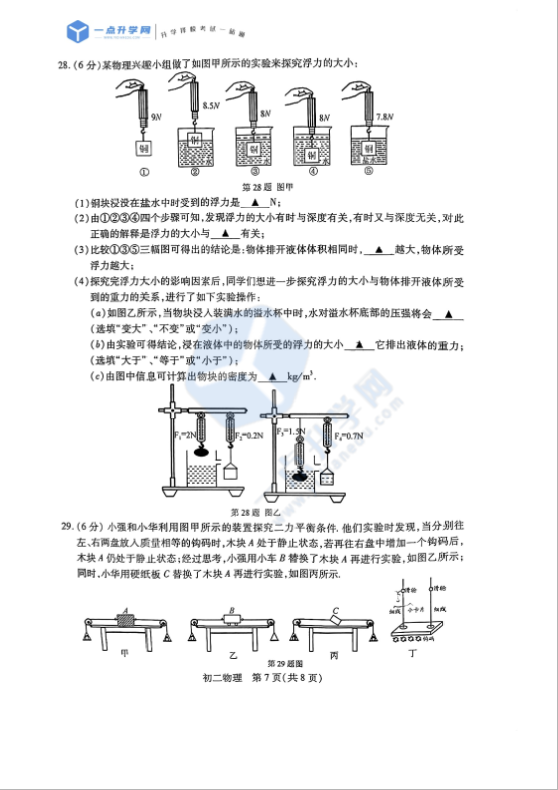2021昆山、太仓、常熟、张家港2020-2021学年第二学期初二物理期末质量调研测试卷(PDF版无答案)